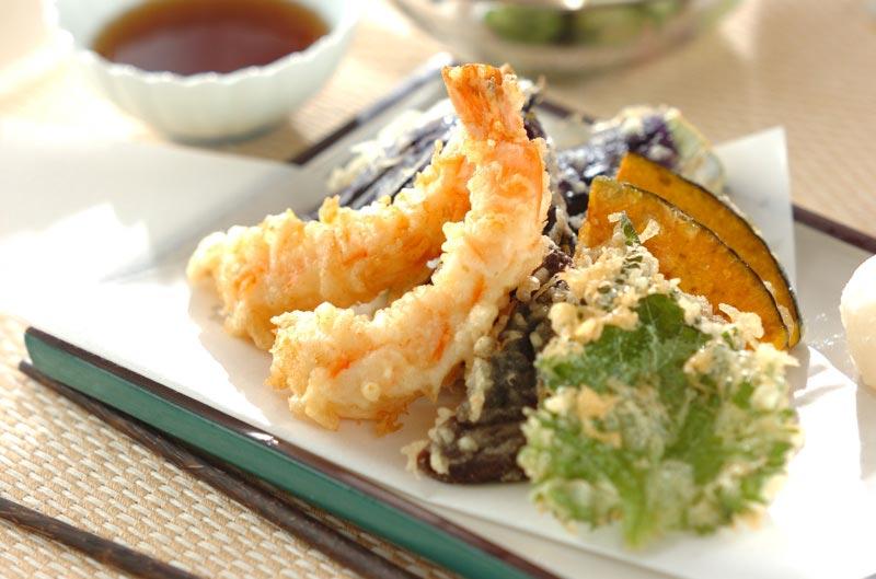 Tempuras crevettes et petits légumes